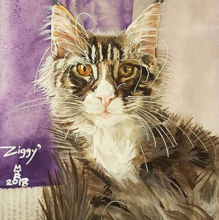 Mark Robertson painting cat