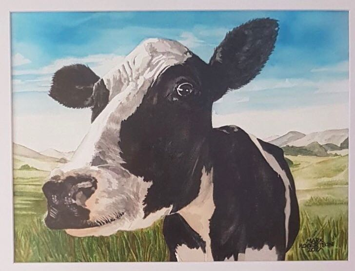 Mark Robertson painting cow