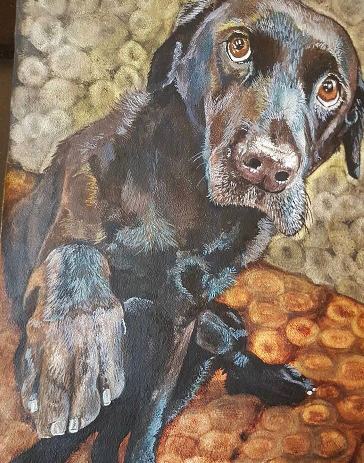 Mark Robertson painting black lab